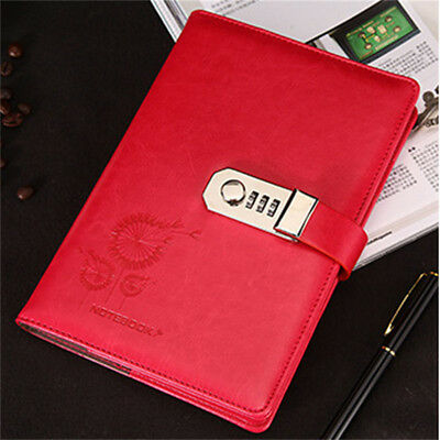 1Pc Retro Combination Lock Leather Cover Journal Diary Password Notebook Red Hot