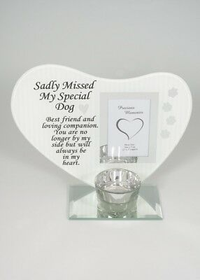 My Special Dog - Sadly Missed heart Shaped glass plaque photo frame tealight