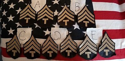 Wwii Us Army T4 Technician Fourth Grade Rank Chevrons Insignia Rayon Paratrooper