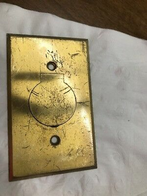 Vintage  Outlet Cover Brass Single Round Electrical Plate Bryant Electric Co.