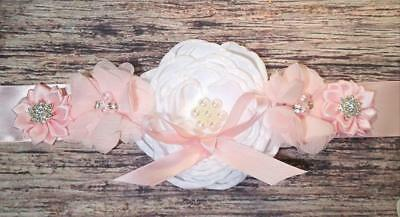 Light Pink Bow and White Flower Maternity Sash!