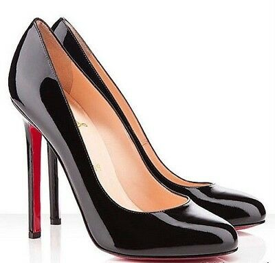 f0bc3cf0407 AUTHENTIC CHRISTIAN LOUBOUTIN BLACK PATENT LADY LYNCH PUMPS Size 38.5 8.5