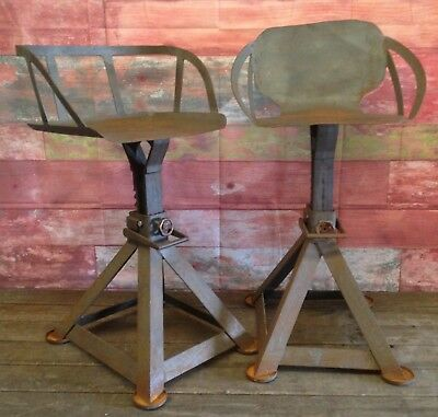 Pair of reclaimed hand made vintage industrial stools