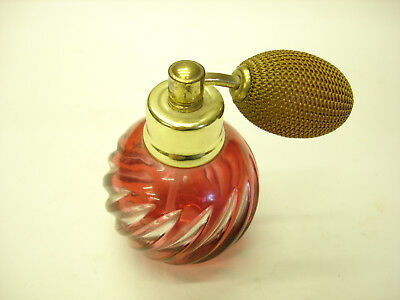 Old Antique Ruby Red Cut to Clear Crystal Beautiful Little Perfume Bottle LOOK