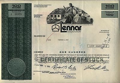 Lennar Corporation Stock Certificate