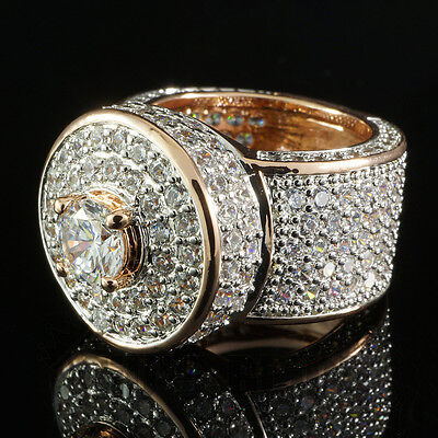 18K Rose Gold ICED OUT Simulated Diamond Band MICROPAVE Mens Bling Ring NEW