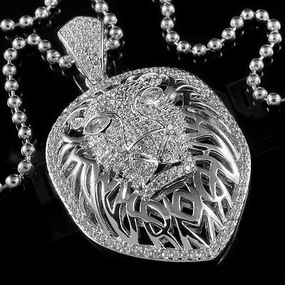 18K White Gold Out Iced Tiger King Lion Stainless Steel Chain Pendant Necklace