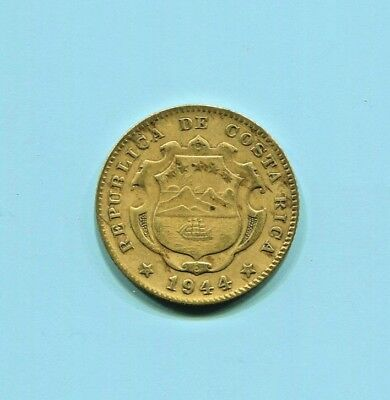 Costa Rica-   Beautiful Historical Yellow Brass Reform Coinage 25 Centimos, 1944