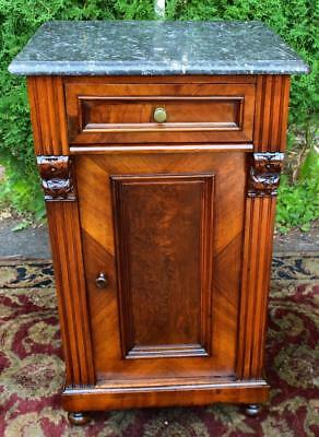 19th century Antique Victorian Walnut black Marble top Night Stand / Commode