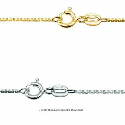 """14k Gold Over 925 Sterling Silver BOX CHAIN Necklace 1mm Available Length 16-30"""""""