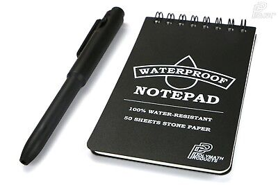 WATERPROOF NOTEPAD - All Weather Stone Paper Pocket Size Notebook Outdoor Hiking