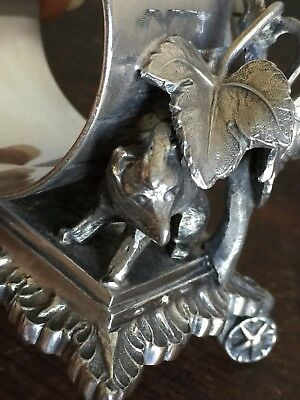 RARE Fox And Grapes Aesop Fable antique Silverplate FIGURAL NAPKIN RING holder