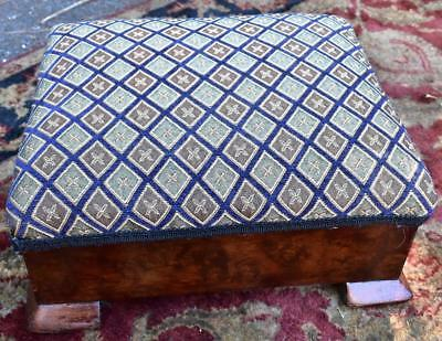 1920s Antique American Empire Footstool New Upholstery
