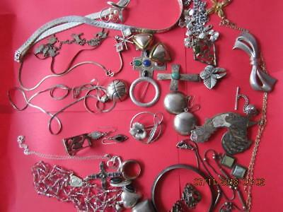 Vtg~Modern Sterling Silver Lot 252 grams~Necklaces, earrings,bracelets,pins