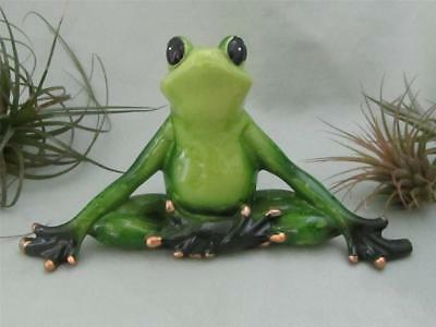 YOGA LOTUS POSE FROG GREEN Meditation Stretching Sculpture Garden FREE SHIPPING