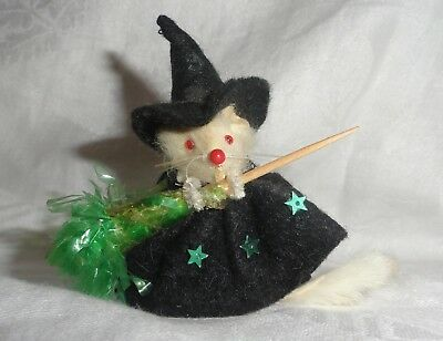 Original Little Mouse Factory Witch w/Broom & Hat Hand Dressed in USA