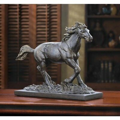"Wild Stallion 11"" x 9"" Horse Statue Sculpture Figurine Home Office Decor"