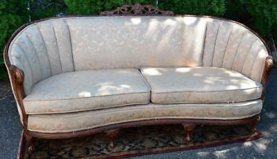 1920s Antique French Provincial Walnut Hand Carved Sofa / Couch
