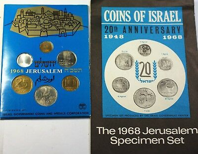 1968 Coins of Israel 6 Coin Brilliant Uncirculated Set Original Mint Packaging