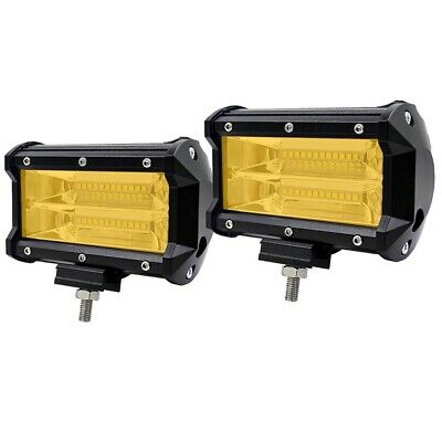 "2 x Yellow LED Light Bar 5"" Flood Boat Work Lamp Offroad Truck Driving Fog SUV"