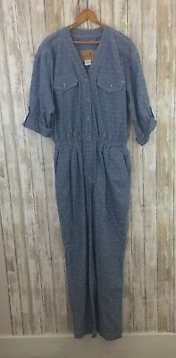 6bfd7fa8fe6 Vintage 90 s chambray jumpsuit size 14 Liz Claiborne faded denim romper  playsuit