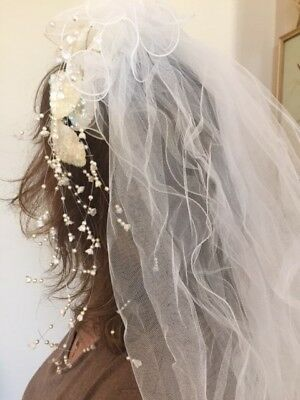 Wedding Veil white 2tier elbow lengthsequins on crown and flowing white beads