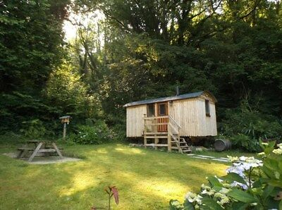 unique 2 night breaks w.wales shepherds hut for 2..secluded garden,shower BBQ .