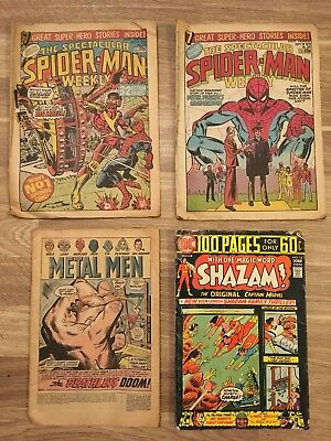 Comics, selection of old comics, shazam metal men and spider man.