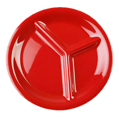 """Thunder Group CR710PR 10-1/4"""" Pure Red 3 Compartment Melamine Plate -  1 Doz"""