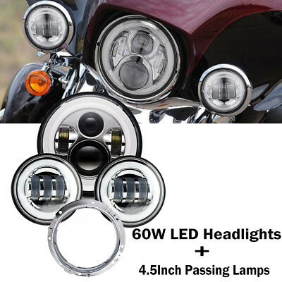 Chrome Harley 7Inch LED Daymaker Headlight w/Housing Kit & 4.5Inch Passing Lamps