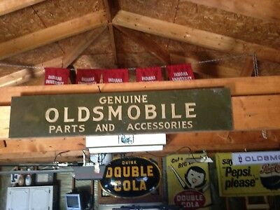 "VINTAGE ORIGINAL OLDSMOBILE GENIUNE AUTO PARTS DEALER FLANGE METAL SIGN 36"" x 7"""
