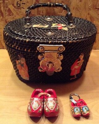 Vintage Chinese Straw Handled Box/Basket/Handbag w Cloth & Paper Figures