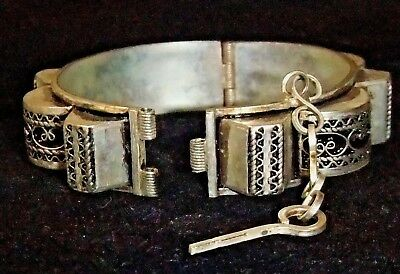 Antique Art Nouveau Vintage Bracelet Bangle Hinged Ornate Etched Push Pin Clasp