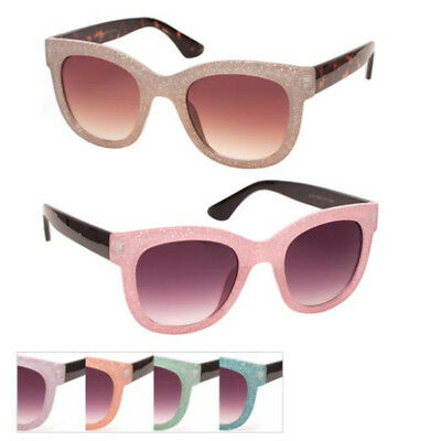 WHOLESALE 12 PAIRS GLITTER CLASSIC SUNGLASSES ASSORTED COLORS - Assorted