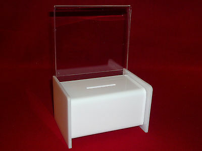 Three (3) - White Donation / Fundraising Collection Boxes With Pad Lock & Keys
