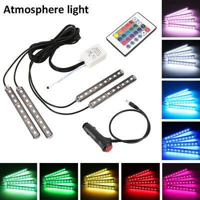 4x 9LED RGB Car Interior Atmosphere Footwell Strip Light USB Charger Decor Lamp