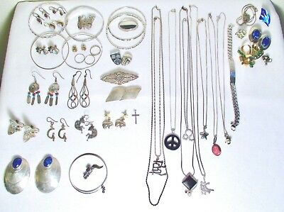 Silver Jewelry Lot Scrap or Not Chains Earrings Bracelets 285 grams