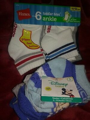 Hanes toddler Boys Ankle Socks 6pr 6-12MDisney Mickey 5pr 6-12m  safety toes