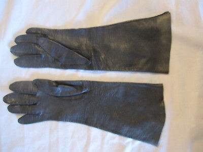 Vintage Ladies Gloves~ Long  Soft Black Leather Gloves~Made in Italy~ Size 7