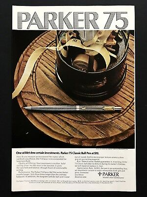 1973 Vintage Print Ad PARKER 75 Classic Ball Pen Image 70's Writing