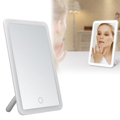 24 LED Touch Screen Makeup Mirror Tabletop Lighted Cosmetic Vanity Rechargeable