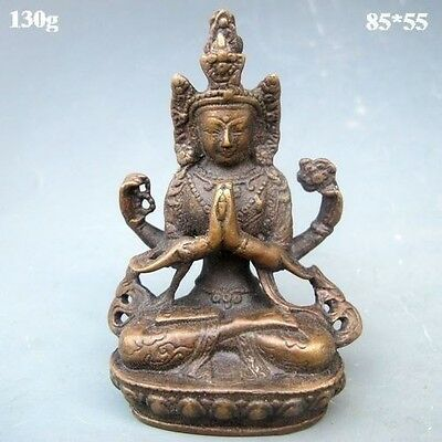 Rare Chinese Bronze Statue W Thousand Hands Buddha