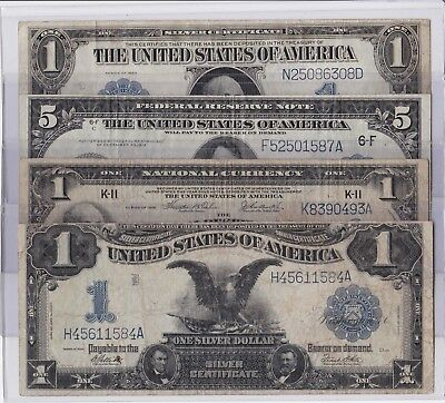 1899, 1914, 1918 & 1923 Silver Certificates Federal Reserve Notes (Get All Four)