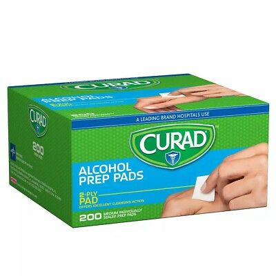 Curad Alcohol Prep Pads 2-Ply Pad 200 Count