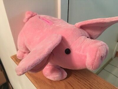 Piggy Bank Plush Pink - Squeals When Money is Deposited. New Batteries.