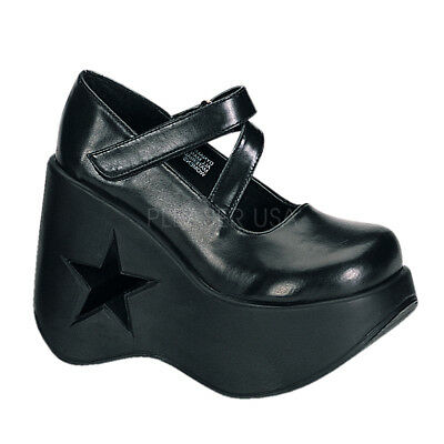 02a75dc20fa Demonia Dynamite-03 Gothic Punk Mary Jane Style Wedge Platform Black Sandals