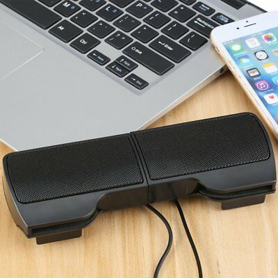 New Mini Portable USB Stereo Speaker for Notebook Laptop PC with Clip Black KZ