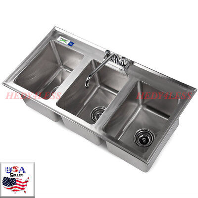 """Regency 3-Compartment 37"""" x 19"""" Stainless Steel Kitchen Drop-In Sink FAST SHIPPI"""