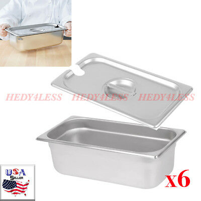 """(6-Pack) 1/3 Size 4"""" Deep Stainless Steel Steam Table Hotel Pan w Pan Lid Covers"""