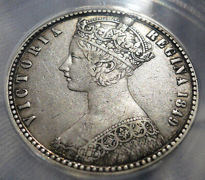 """Great Britain 1849 """"godless"""" Victorian silver florin with designer's intials WW"""